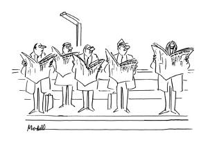 "Men looking angrily at man laughing at ""New  York Times"". - New Yorker Cartoon by Frank Modell"