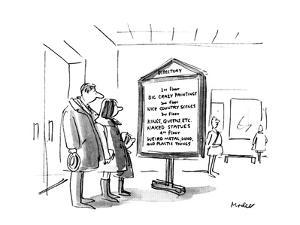 People reading directory at a museum. - New Yorker Cartoon by Frank Modell