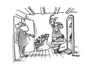 Reindeer is discovered posing before a mirror in Santa's uniform by Santa. - New Yorker Cartoon by Frank Modell
