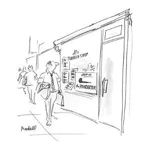 "Smoke shop advertising ""The Poindexter"" pipe. - New Yorker Cartoon by Frank Modell"