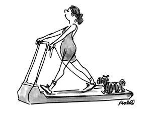 The woman taking her dog out for a walk on her threadmill. - New Yorker Cartoon by Frank Modell