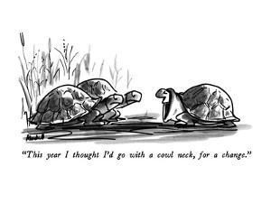 """This year I thought I'd go with a cowl neck, for a change."" - New Yorker Cartoon by Frank Modell"