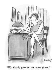 """We already gave on our other phone."" - New Yorker Cartoon by Frank Modell"