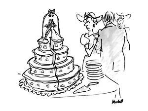 Woman at wedding looking at wedding cake that has a huge split down the mi? - New Yorker Cartoon by Frank Modell