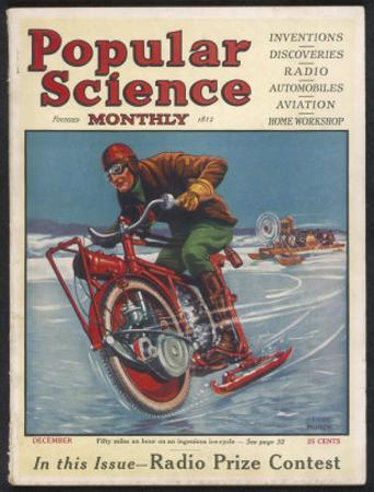 Swiss-American Inventor Thomas Avoskan's Motor Cycle with Skates by Frank Murch