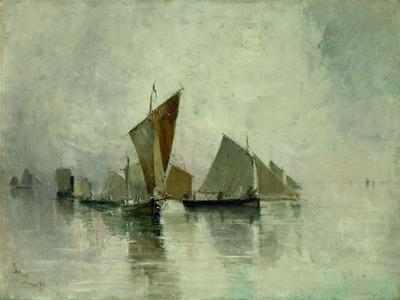Dieppe, brume matinale - Dieppe, morning mist, 1881 Oil on canvas, 59,8 x 82,2 cm.