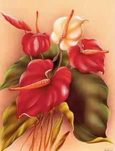 Hawaiian Red and White Anthuriums c.1940s by Frank Oda