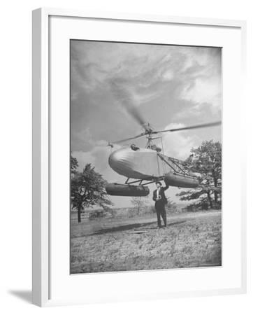 Aeronautical Engineer Igor Sikorsky Standing Underneath Helicopter He Invented
