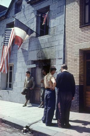 Civil Affairs Building in La Haye Du Puit Decorated with American and French Flags, France, 1944
