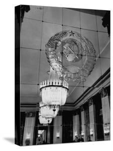 Hall of Emblems in USSR East Berlin Embassy, with Soviet Seal Embossed on Mirror by Frank Scherschel