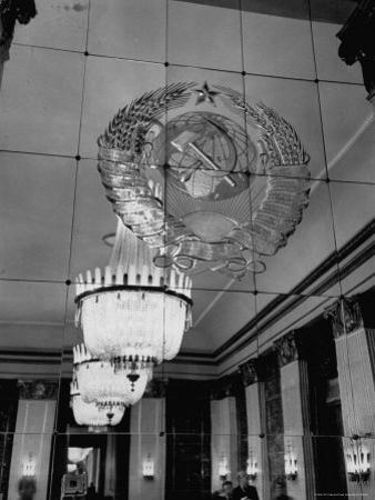 Hall of Emblems in USSR East Berlin Embassy, with Soviet Seal Embossed on Mirror