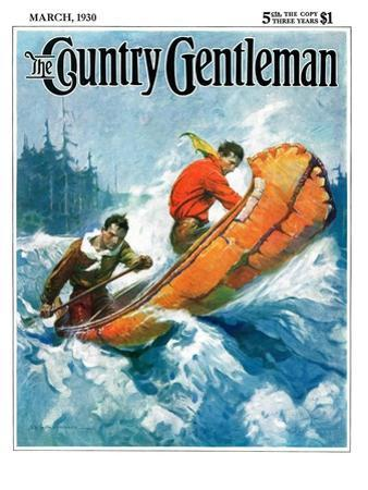 """""""Canoeing Through Rapids,"""" Country Gentleman Cover, March 1, 1930 by Frank Schoonover"""