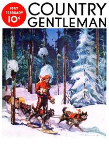 """""""Dog Sled,"""" Country Gentleman Cover, February 1, 1937 by Frank Schoonover"""