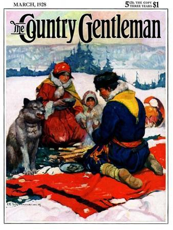 """""""Eskimo Family Meal,"""" Country Gentleman Cover, March 1, 1928 by Frank Schoonover"""