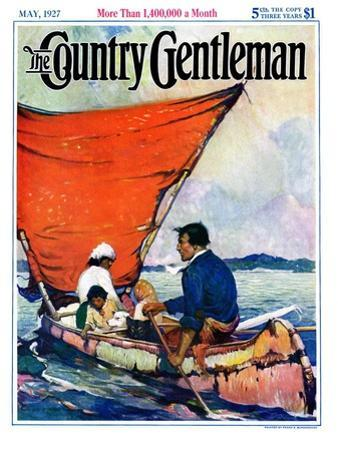 """""""Family in Canoe,"""" Country Gentleman Cover, May 1, 1927 by Frank Schoonover"""