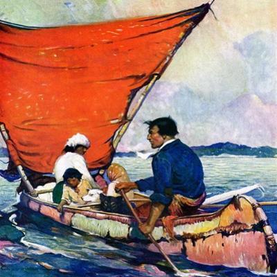 """Family in Canoe,""May 1, 1927 by Frank Schoonover"