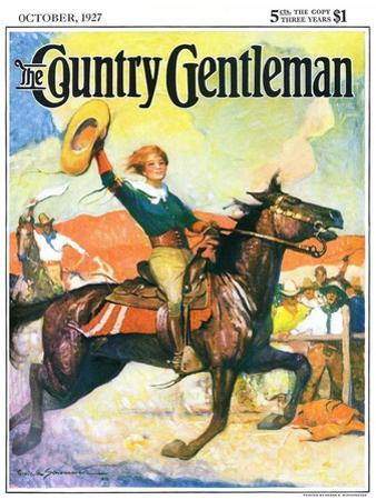 """""""Rodeo Riders,"""" Country Gentleman Cover, October 1, 1927 by Frank Schoonover"""