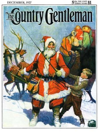 """""""Stay Santa, Stay!,"""" Country Gentleman Cover, December 1, 1927 by Frank Schoonover"""