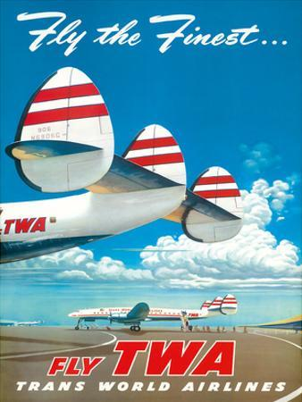 "Fly the Finest - Fly TWA (Trans World Airlines) - Super Lockheed Constellation (""Connie"") by Frank Soltesz"