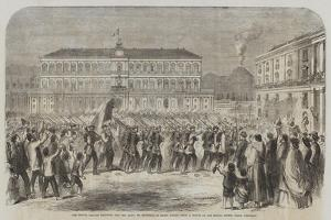 The British Brigade Marching into the Largo St Francesco Di Paola, Naples by Frank Vizetelly