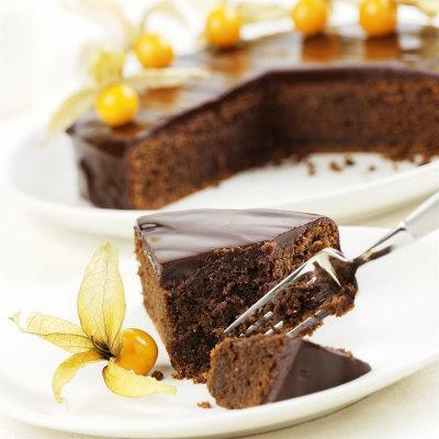 A Piece of Sacher Torte with Physalis