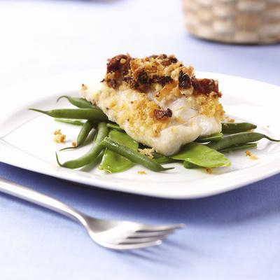 Baked Cod on Beans