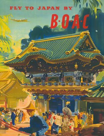 British Overseas Airways Corporation: Fly to Japan by BOAC, c.1950s by Frank Wootton