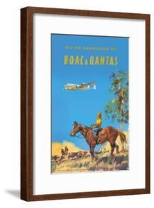 Fly to Australia by British Overseas Airways Corporation (BOAC) and Qantas Airlines by Frank Wootton