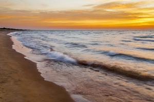 USA, Michigan, Paradise, Whitefish Bay Beach with Waves at Sunrise by Frank Zurey