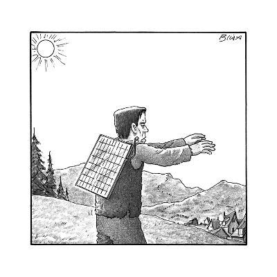 Frankenstein's monster walks with a solar panel on his back. - New Yorker Cartoon--Premium Giclee Print