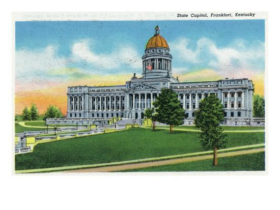 Frankfort, Kentucky - Exterior View of the State Capitol, c.1939-Lantern Press-Art Print