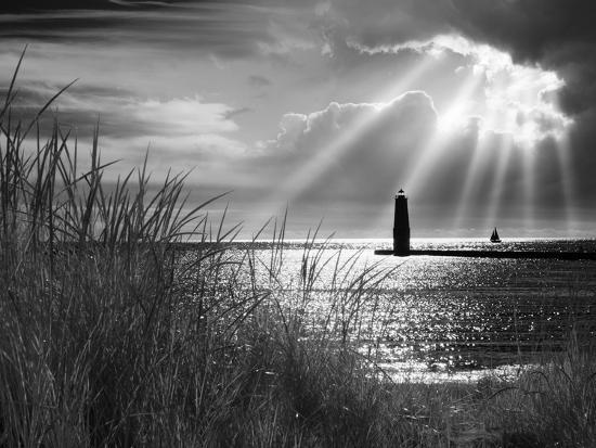 Frankfort Lighthouse and Sunbeams, Frankfort, Michigan '13-Monte Nagler-Photographic Print