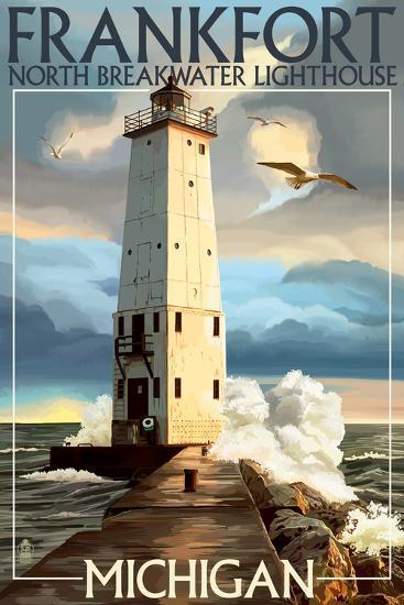 Frankfort Lighthouse, Michigan-Lantern Press-Art Print