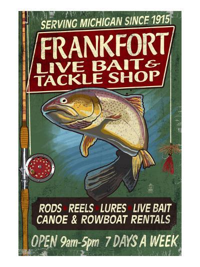 Frankfort, Michigan - Trout Tackle Shop-Lantern Press-Art Print