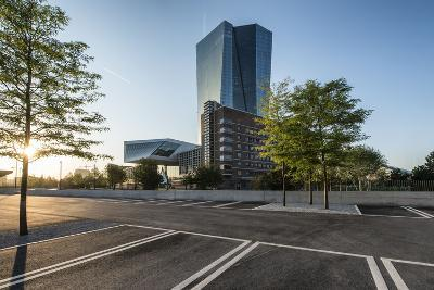 Frankfurt Am Main, Hesse, Germany, New Building of the European Central Bank with Sunrise-Bernd Wittelsbach-Photographic Print