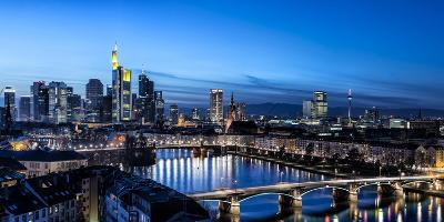 Frankfurt, Hesse, Germany, Frankfurt Skyline Financial District at Dusk-Bernd Wittelsbach-Photographic Print