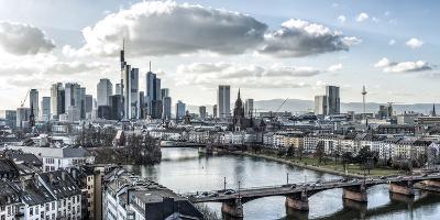 Frankfurt, Hesse, Germany, Panorama of the Frankfurt Skyline-Bernd Wittelsbach-Photographic Print