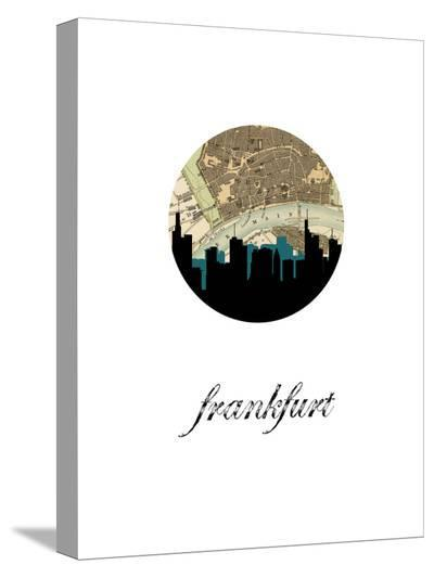 Frankfurt Map Skyline-Paperfinch 0-Stretched Canvas Print