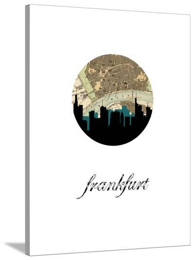 Frankfurt Map Skyline-Paperfinch 0-Stretched Canvas Print
