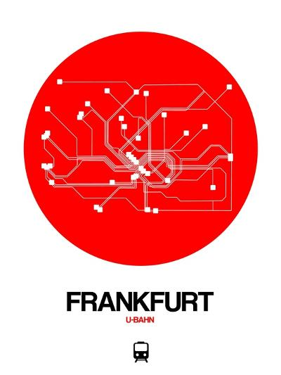 Frankfurt Red Subway Map-NaxArt-Art Print