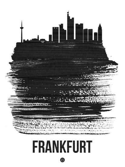 Frankfurt Skyline Brush Stroke - Black-NaxArt-Art Print