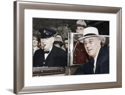 Franklin D Roosevelt and Winston Churchill Meeting in Quebec, Canada, 1944--Framed Photographic Print
