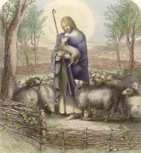 Jesus Depicted as the Good Shepherd by Franklin