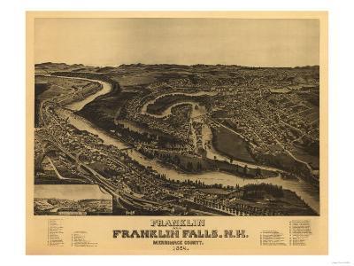 Franklin, New Hampshire - Panoramic Map-Lantern Press-Art Print