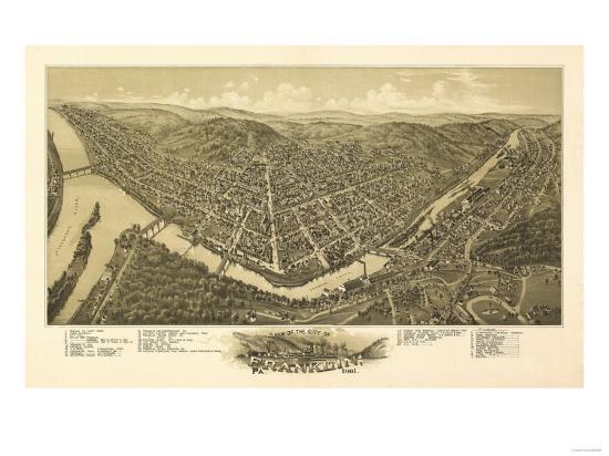 Franklin, Pennsylvania - Panoramic Map-Lantern Press-Art Print