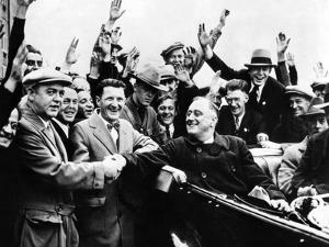Franklin Roosevelt in the Back Seat of His Car, Surrounded by Cheering Citizens, 1930s
