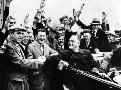 Franklin Roosevelt in the Back Seat of His Car, Surrounded by Cheering Citizens, 1930s--Photo