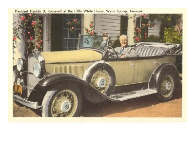 Franklin Roosevelt in Vintage Car, Warm Springs, Georgia--Art Print