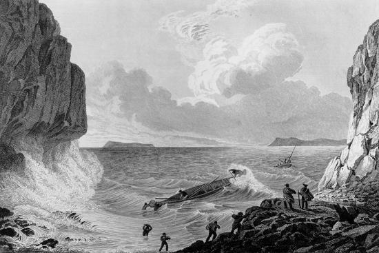 Franklin's expedition landing in a storm,1821-George Back-Giclee Print
