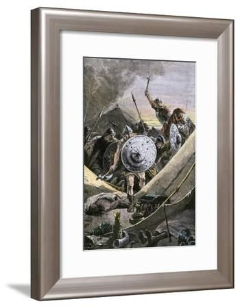 Franks under Charles Martel Attack the Saracens' Camp During the Battle of Tours, c.732--Framed Giclee Print